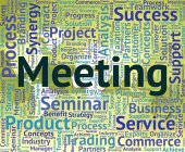 Meeting Word Represents Get Together And Assembly — Stock Photo