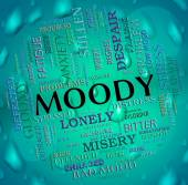 Moody Word Means Wordcloud Moping And Flighty — Stock Photo