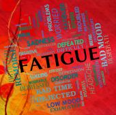 Fatigue Word Means Lack Of Energy And Drowsiness — Stock Photo