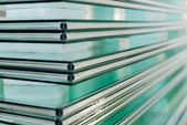 Sheets of Tempered Window Glass — Stock Photo