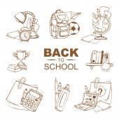 Al set di icone di scuola — Vettoriale Stock