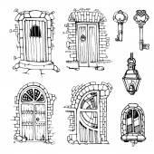 Ancient doors — Stock Vector