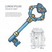 Ancient metal key — Stock Vector