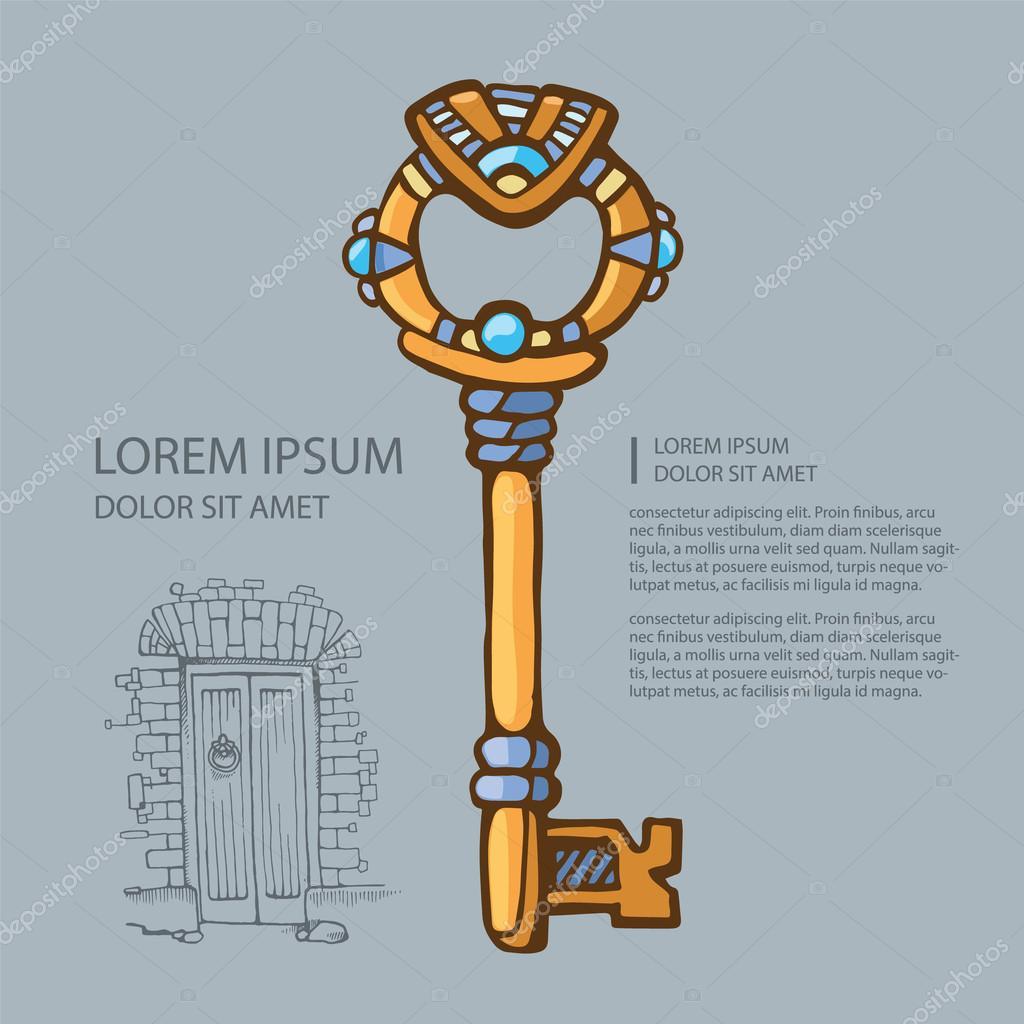 矢量图形的古代珠宝的金钥匙.