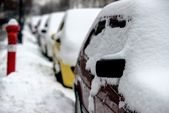 Cars covered in snow after blizzard — Stock Photo