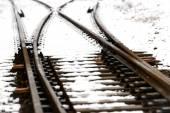Railroad tracks in the snow — Stock Photo