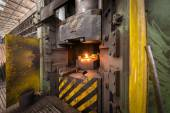 Hot iron in smeltery — Stock Photo