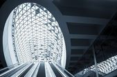Futuristic architecture with large windows — Stock Photo