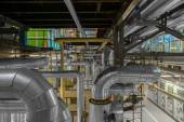 Industrial pipes in a thermal power plant — Stock Photo