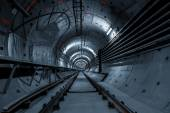 Underground tunnel for the subway — Стоковое фото
