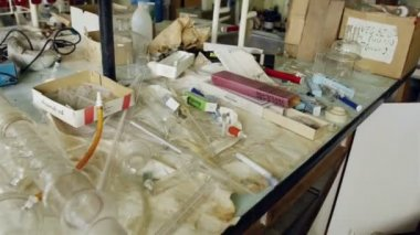 Laboratory with a lot of bottles — Stockvideo