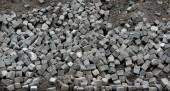 Crawl destroyed urban sidewalk stones — Stock Photo