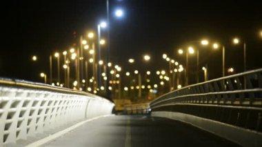 Empty bridge at night with lights — Stock Video