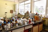 Laboratory with a lot of bottles — Photo
