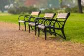 Stilvolle sitzbank im herbst-park — Stockfoto