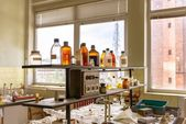 Laboratory with a lot of bottles — Stock Photo