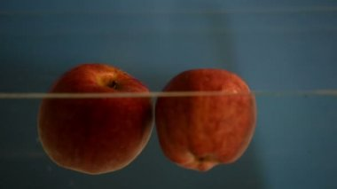 Small apple in see trough water — Vidéo
