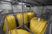 Industrial interior with welded silos — Stock Photo
