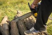 Gasoline powered professional chainsaw — Stock Photo