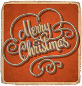 Hand-lettered vintage Christmas card (vector) — Stock Vector