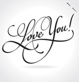 LOVE YOU hand lettering (vector) — Stockvector