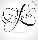 LOVE original custom hand lettering -- handmade calligraphy, vector (eps8) — Stock Vector