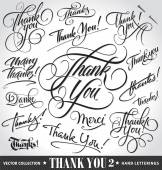 Set of custom THANK YOU hand lettering -- handmade calligraphy, vector (eps8) — Stock Vector
