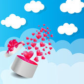 Valentines Day Card with Gift Box and Heart Shaped Balloons, Vec — Stock Vector