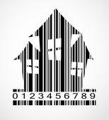 Barcode Halloween House  Image Vector Illustration — Stockvektor