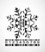 Barcode Snowflake  Image Vector Illustration — Vettoriale Stock