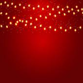 Christmas and New Year  Background with Luminous Garland Vector — Stock Vector