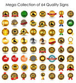 Mega Collection Set of 64  Quality Label Signs. Vector Illustrat — Stock Vector