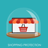 Shopping Protection Flat Concept for Mobile Apps — Vector de stock
