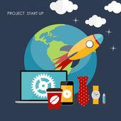 Quick Start Up Flat Concept Vector Illustration — Stock Vector
