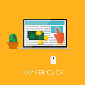 Pay Per Click Flat Concept for Web Marketing. Vector Illustration — Stock vektor