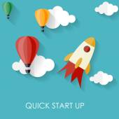 Quick Start Up Flat Concept Vector Illustration — Stock Vector