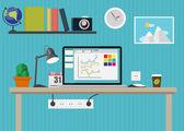 Working Place Modern Office Interior Flat Design Vector Illustra — Stock Vector