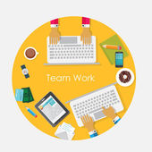 Team Work Flat Concept Vector Illustration — Stock Vector