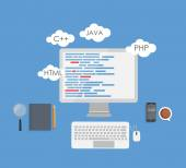 Programming Coding Flat Concept Vector Illustration — 图库矢量图片
