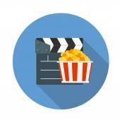 Flat Design Concept Cinema Icon Vector Illustration With Long Sh — Cтоковый вектор