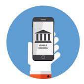Mobile Banking pagamento conceito plana ilustração em vetor — Vetor de Stock