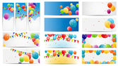 Color Glossy Balloons Card Mega Set Vector Illustration — Stock Vector