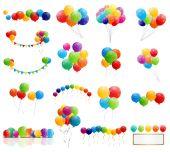 Color Glossy Balloons Mega Set Vector Illustration — Stock Vector