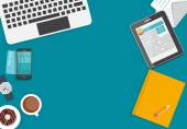 Working Place Modern Office Interior Flat Design Vector Illustration — Stock Vector