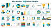 Collection of 40 Infographic Templates for Business Vector Illus — Stockvektor