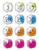 Silver Watch Designation Minutes. Vector Illustration — Stock Vector