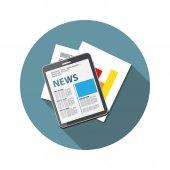 Online News Vector illustration. Flat computing background — Stok Vektör