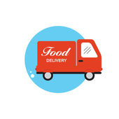 Icon with Flat Graphics Element of Food Delivery Car Vector Illu — Stock Vector