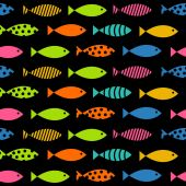 Mult Fish Seamless Pattern Background Vector Illustration — Stock Vector