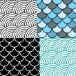 Seamless Fish Scale Pattern Set Vector Illustration — Stock Vector #78872774